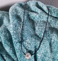 Cord Necklace with Rhinestone Ring